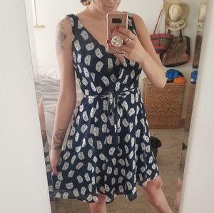 Navy Cat Print Wrap Dress